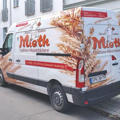 Fahrzeugbeschriftung Bäckerei Mieth