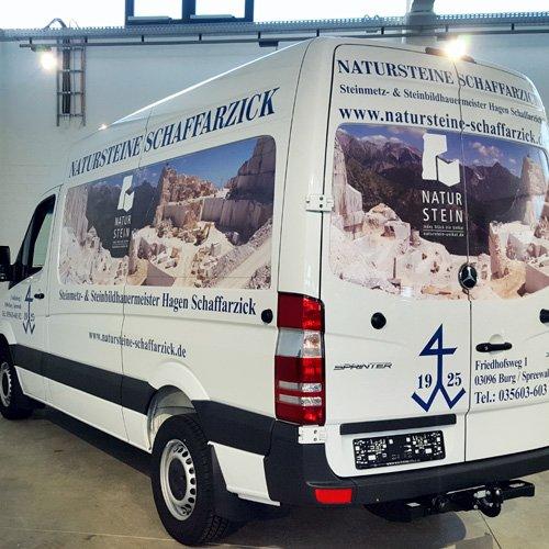 Fahrzeugbeschriftung Natursteine Schaffarzick